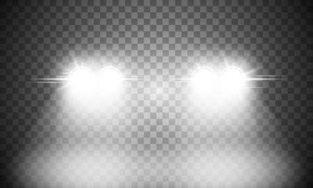 Car headlight light on transparent background Vektorgrafik