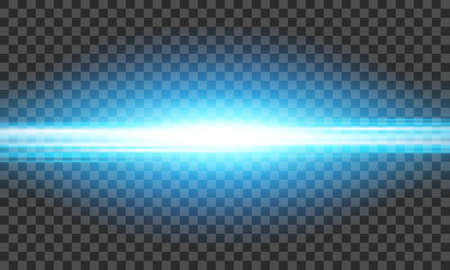 Vector transparent sun flare. Bright glow from a searchlight. Realistic shine on a transparent background. 向量圖像