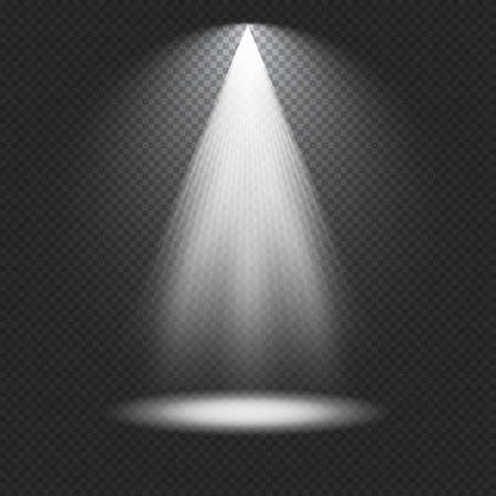 Spotlight on stage. Volume light on transparent background. Vector illustration 向量圖像