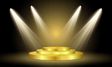Riflettori sul palco. Luce del volume su sfondo nero. Podio rotondo dorato illuminato da faretti su uno sfondo scuro. Illustrazione vettoriale. Vettoriali