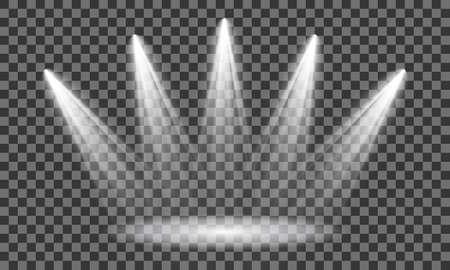 Spotlight on stage. Volume light on transparent background. Vector illustration Векторная Иллюстрация