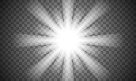 Vector transparent sun flare. Bright glow from a searchlight. Realistic shine on a transparent background. Çizim