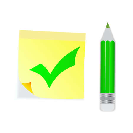 Check mark green with pencil. Yellow stick note. Idea concept. Vector illustration.