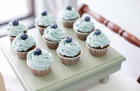 ブルーベリーのカップケーキ 写真素材