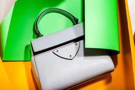 Fashionable shoulder bag on a stylish bright background