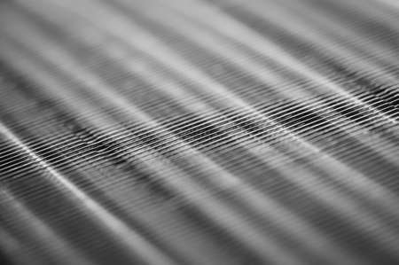 Metallic ribbed seamless texture in blur. Steel. Pattern. Stock Photo