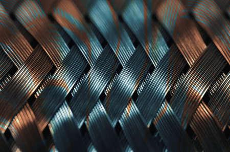 Horizontal metal wire braiding. Steel texture. Background. Template.