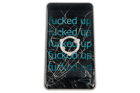 Modern broken phone with abusive cyan inscription FUCKED UP on screen on white background. Piece of iron on display. Isolated.