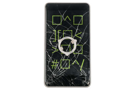 Modern broken phone with green quad symbols on screen on white background. Piece of iron on display. Isolated.