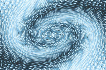 Space matter revolves around a spiral wormhole of blue color. Fantastic background image of asymmetric vortex tunnel in center of shot.