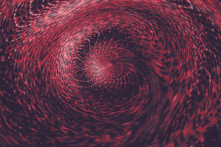 Red spherical twisted portal in supernatural world. Abstract background of otherworldly wormhole. Hellish mystical space. Stock Photo