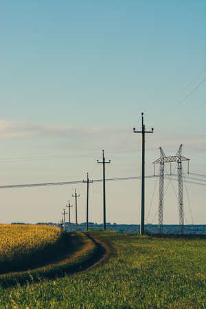 Dirty road through field under electric wires. Power lines pass through green and yellow fields. Electric pillars in field under blue sky. Banco de Imagens