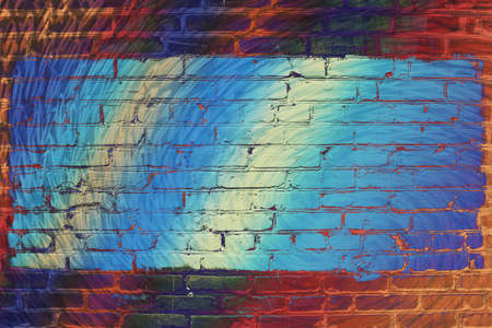 Hallucinogen neon surreal brick wall. Exotic fluorescent uneven wall with painted blue glowing center. Big rectangle for mock up in center close-up. Haunted imagination from drugs and alcohol.