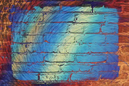Hallucinogen neon surreal brick wall. Exotic fluorescent uneven wall with painted blue glowing center. Big rectangle for mock up in center close-up. Haunted imagination from drugs and alcohol. Imagens