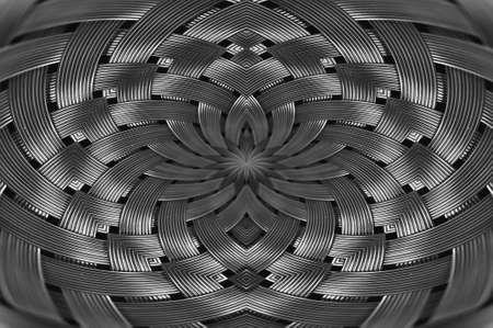 Symmetrical silver metallic wicker texture close-up. Detail background of volume steel surface. Abstract gray braided wire in macro. Surreal shape with copy space. Unusual black and white space.