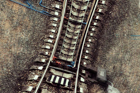 Speed and vertigo on railroad. Railway abstract background with copy space. Standard-Bild