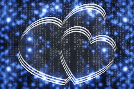 Two virtual hearts on blue matrix background close-up. Virtual space with two painted hearts. Virtual reality with digital love symbol. Virtuality image of Valentine day. Online dating backdrop.