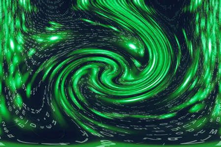 Green blue matrix digital background. Distorted cyberspace concept. Characters fall down in wormhole. Hacked matrix. Virtual reality design. Complex algorithm data hacking. Green digital sparks. Stock Photo