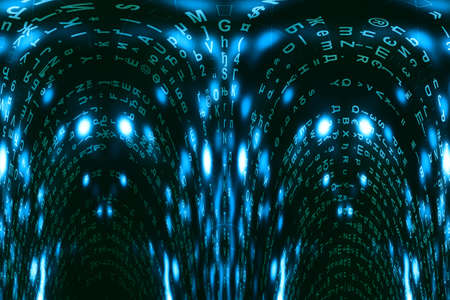Blue green matrix digital background. Distorted cyberspace concept. Green characters fall down. Matrix from symbols stream. Virtual reality design. Complex algorithm data hacking. Cyan digital sparks.