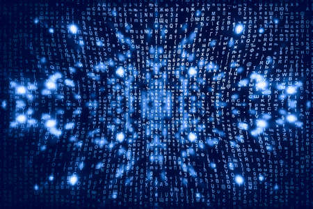 Blue matrix digital background. Abstract cyberspace concept. Characters fall down. Matrix from symbols stream. Virtual reality design. Complex algorithm data hacking. Cyan digital sparks. Stock Photo