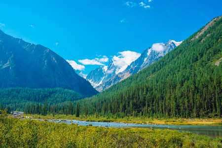 Mountain creek in valley before beautiful glacier. Snowy rocks behind mountains with conifer forest. Huge clouds on giant snowy mountain top under blue sky. Atmospheric landscape of highland nature.