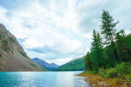 Shiny ripples on water surface of blue mountain lake in valley. Wonderful mountains. Conifer forest on mountainside in sunlight. Larch tree on water edge. Landscape of majestic nature of highlands. Stock Photo