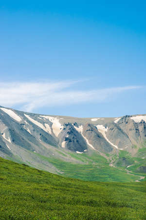 Giant mountains with snow above green valley in sunny day. Meadow with rich vegetation of highlands in sunlight. Amazing mountain landscape of majestic nature. 写真素材