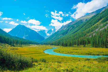 Serpentine river in valley before beautiful glacier. Snowy rocks behind mountains with conifer forest. Huge clouds on giant snowy mountain top under blue sky. Atmospheric landscape of highland nature.