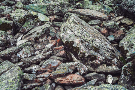 Multicolored boulder stream. Loose rock close up. Water under randomly scattered stones. Amazing detailed background of highlands boulders with mosses and lichens. Natural texture of mountain terrain. 写真素材