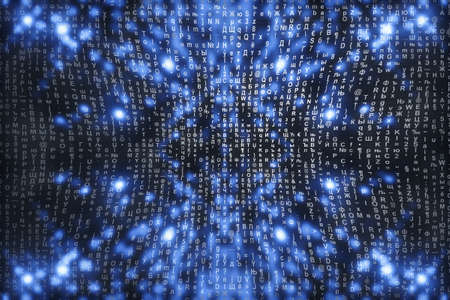 Blue matrix digital background. Abstract cyberspace concept. Characters fall down. Matrix from symbols stream. Virtual reality design. Complex algorithm data hacking. Cyan digital sparks. 写真素材