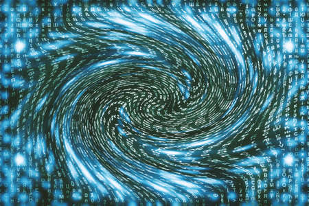 Blue matrix digital background. Distorted cyberspace concept. Characters fall down in wormhole. Hacked matrix. Virtual reality design. Complex algorithm data hacking. Cyan digital sparks.