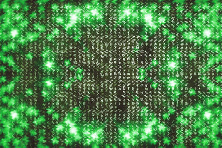 Green matrix digital background. Abstract cyberspace concept. Characters fall down. Matrix from symbols stream. Virtual reality design. Complex algorithm data hacking. Green digital sparks. 写真素材