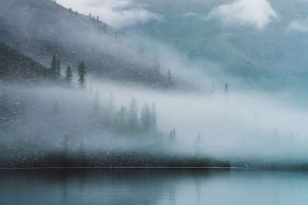 Ghostly atmospheric view to tranquil mountain lake and stony steep slope with coniferous trees in dense fog. Minimalist scenery with low clouds and calm water. Mysterious place at early foggy morning. 스톡 콘텐츠