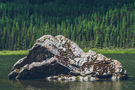 Meditative view to big mossy stone closeup in beautiful green lake on forest mountain background. Atmospheric alpine green landscape with big stone and ripples in lake surface. Scenic relaxing place. 스톡 콘텐츠