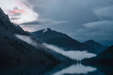 Low cloud above highland lake. Silhouettes of trees on hillside along mountain lake in dense fog. Reflex of pines to calm water. Alpine tranquil landscape at early morning. Ghostly atmospheric scenery