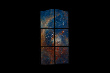 Outer space in dark room. Many stars and blue nebula behind door with glass. Abstract image of mind, dreams, reverie, sleep, coma, depths of subconscious. 스톡 콘텐츠