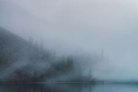 Dense fog above tranquil mountain lake. Calm water and stony steep slope with coniferous trees among low clouds. Ghostly atmospheric view. Minimalist scenery in mysterious place at early foggy morning