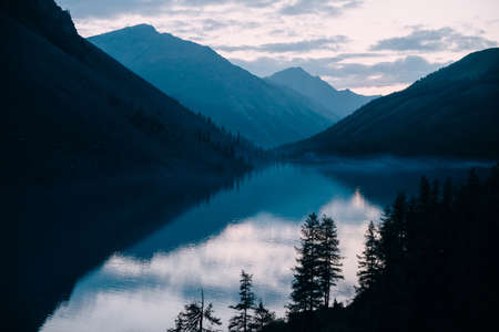 Silhouettes of larches on background of highland lake and mountains silhouettes. Fog along shore. Reflex of pines on calm water. Coniferous trees on hillside in dusk. Alpine atmospheric scenery. 스톡 콘텐츠