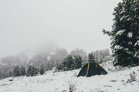 Scenic winter landscape with green-yellow tent on snowy mountain on background of coniferous trees and rocks in haze. Awesome mountain scenery with tent on snow-covered hill in blizzard in winter.
