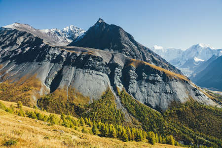Scenic alpine landscape with sharp rock pinnacle and snow-covered mountain in sunlight in autumn. Motley mountain scenery with gray black orange mountain with sharp top in sunshine above autumn forest Standard-Bild
