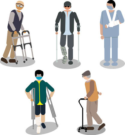People are standing and walking using crutches, elbow crutches, walking stick tripod, and walker and wearing armsling and walking brace. minimal flat design style vector illustration. Çizim