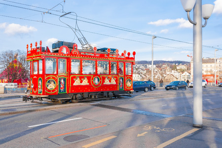 photo of zurich christmas retro tram on the street Stock Photo