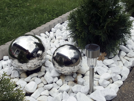 steel balls: Decoration with two steel balls. Germany. 2016 Stock Photo