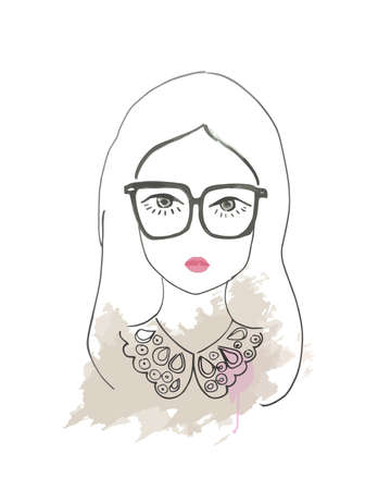beuty: Girl in sunglasses sketch Illustration