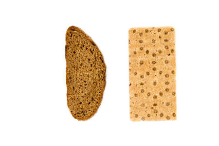 brown bread and cracker over white background photo