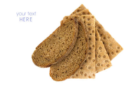 three brown cracker and brown bread over white background, diet photo