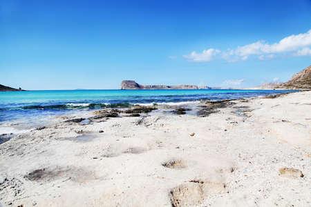 Balos bay. Lagoons, beaches of pure white sand.Crete in Greece Banco de Imagens