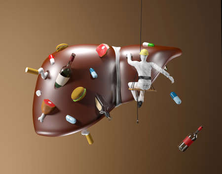 pharmacology: Illustration of cleaning of polluted liver on brown background Stock Photo