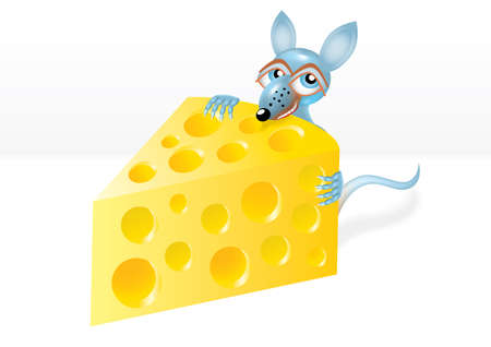 Mouse is stealing a piece of cheese Vector