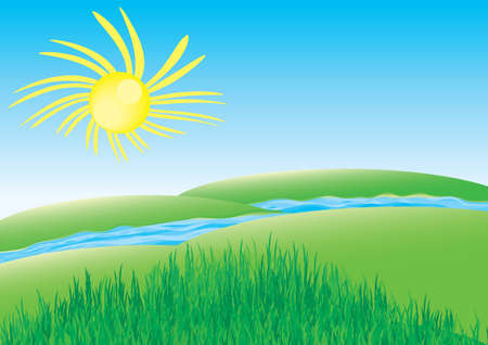 Landscape with green hills with grass, a river between them and funny sun over blue sky Vector